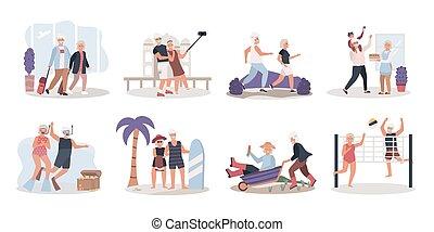 actief, vector, illustratie, leven, paar, het genieten van, bejaarden