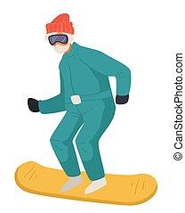 actieve levensstijl, man, gepensioneerde, snowboarden, ...