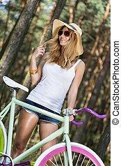 actif, beau, girl, vélo