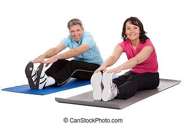 actif, couple, mûrir, fitness