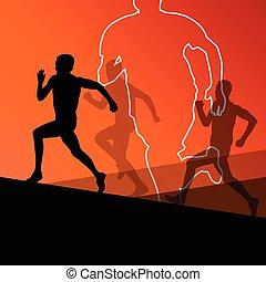 actif, coureur, athlétisme, hommes, sport