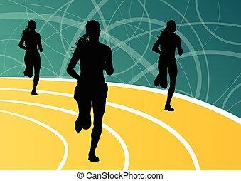actif, coureur, athlétisme, sport, femmes