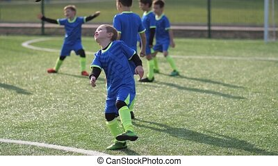 actif, donner coup pied, balle, footballeur, formation, ...