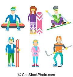 actif, ensemble, gens, loisir, icônes