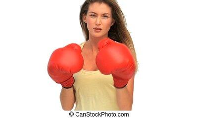 actif, femme, à, rouges, gants
