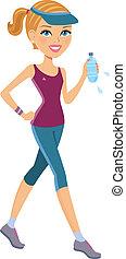 actif, femme, exercisme
