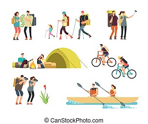 actif, gens, hikers., dessin animé, voyager, famille, outdoor., randonnée, et, trekking, touristes, vecteur, caractères, isolé