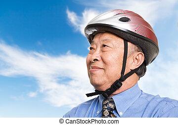 actif, homme affaires, personne agee, asiatique