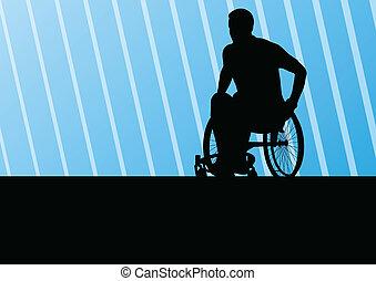 actif, homme desactivé, sur, a, fauteuil roulant, détaillé,...