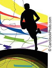actif, jeunes hommes, joueur rugby, sport, silhouettes, résumé, sport, fond, illustration