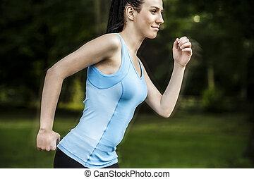 actif, jogging, femme