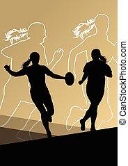 actif, joueur, rugby, jeunes femmes