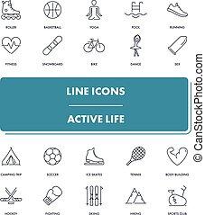 actif, ligne, icônes, vie, set.