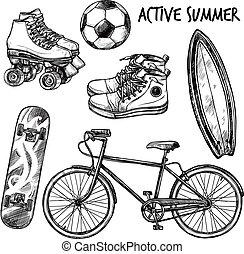 actif, récréation, ensemble, croquis