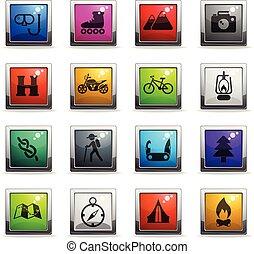 actif, récréation, ensemble, icône