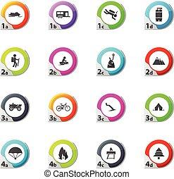 actif, récréation, ensemble, icônes