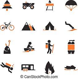 actif, récréation, icônes