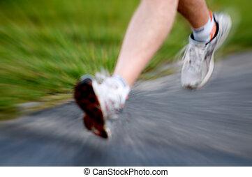 actif, running., concept, style de vie, homme