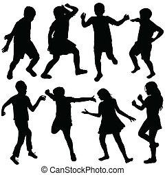 actif, silhouettes, ensemble, enfants