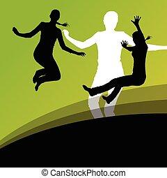 actif, silhouettes, sauter, femmes