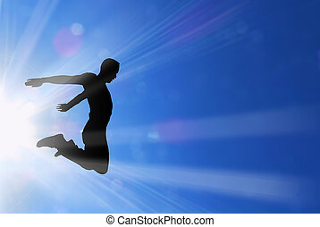 actif, soleil, sauts, rayons, mâle
