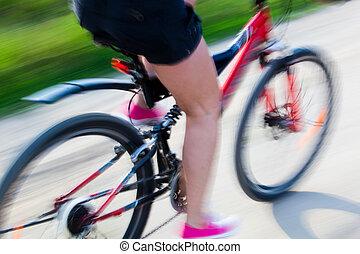 actif, vélo, femme
