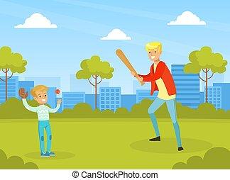 actif, vecteur, père, gosse, sien, fetes, été, illustration, jouer, fils, extérieur, parc, dessin animé, extérieur, activité, ville, base-ball