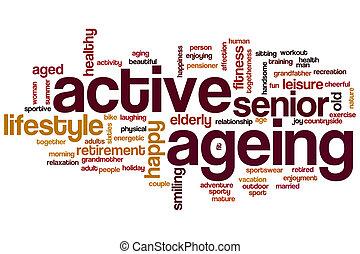 actif, vieillissant, mot, nuage