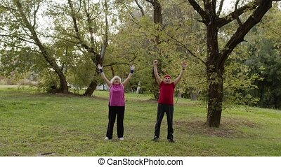 actif, ville, personne agee, matin, sport, étirage, couple, ...