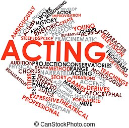 Acting - Abstract word cloud for Acting with related tags...