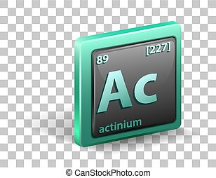 Actiniumchemical element. Chemical symbol with atomic number and atomic mass.