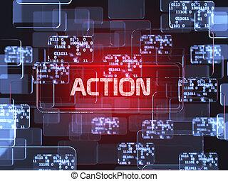 action, écran, concept