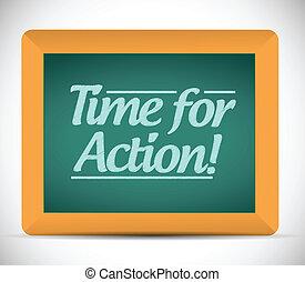 action, écrit, blackboard., temps