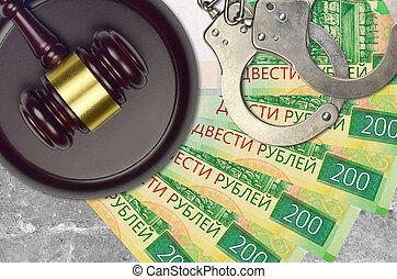 action éviter, 200, procès, ou, desk., concept, impôt, judiciaire, bribery., police, tribunal, factures, rubles, juge, russe, menottes, marteau