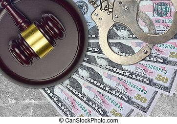 action éviter, procès, ou, desk., 50, concept, impôt, nous dollars, judiciaire, police, tribunal, factures, juge, bribery., menottes, marteau