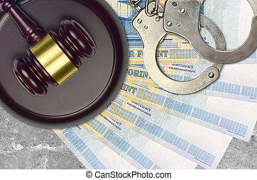 action éviter, procès, ou, desk., forint, concept, impôt, 1000, judiciaire, hongrois, police, tribunal, factures, juge, bribery., menottes, marteau
