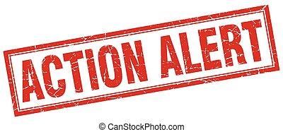 action alert square stamp