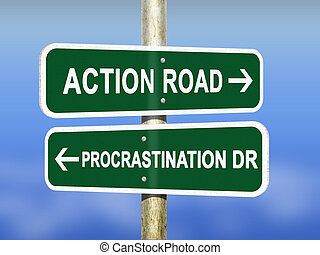 Action and Procrastination - An illustration of Action...