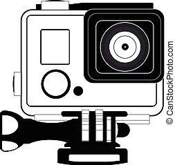 action, appareil photo, icône