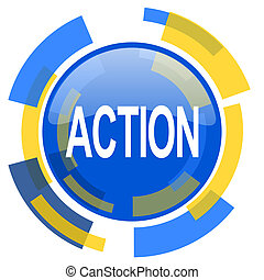action blue yellow glossy web icon