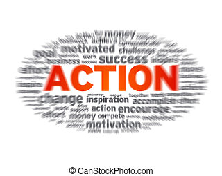 Blurred action word illustration on white background.