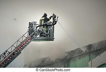 action, brûler, pompiers, combat