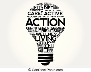 Action bulb word cloud collage