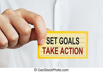 action, buts, ensemble, prendre