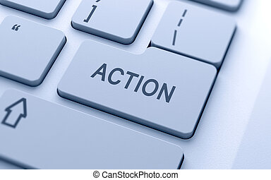 Action button on keyboard with soft focus