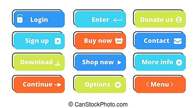 Action buttons set. Vector flat web buttons design