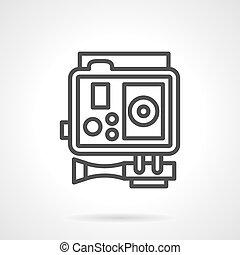 Action camera black simple line vector icon