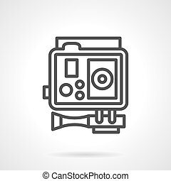 Action camera black simple line vector icon