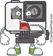 Action camera cartoon character design with angry face