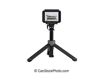 action camera on a tripod with image of the fishing boat in the sea on the screen isolated on a white background